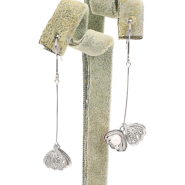 Длинные серьги с микро стразами «Жемчуг из ракушки»