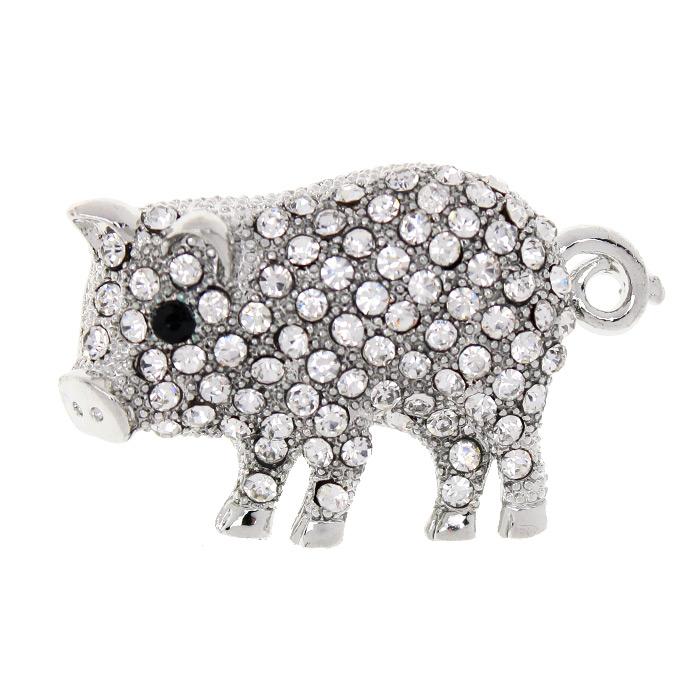 Брошь «Свинка» стразовая